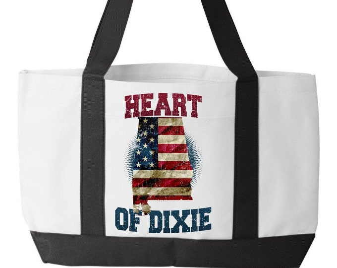 Canvas Tote Bag, Alabama Heart Of Dixie, Custom Gift, Roll Tide, Sweet Home, WarEagle,