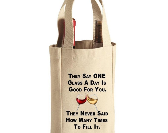 Wine Tote Bag, Canvas 2-Bottle Wine Tote, Red White Wine Tote, Double Wine Tote, Canvas Tote,