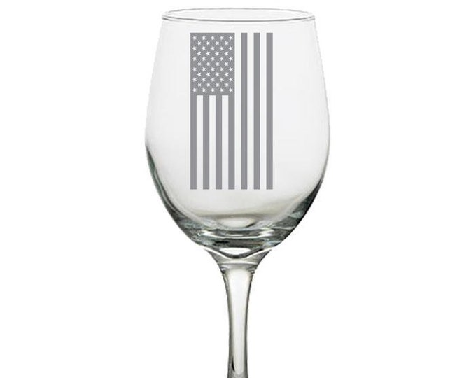 Wine Glass - Laser Etched American Flag, Gift for Men Women Best Friend, soldiers veterans