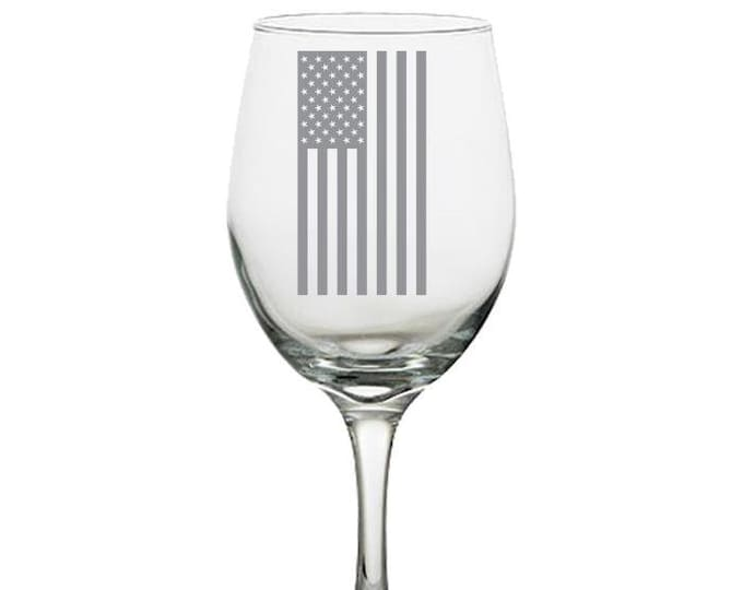 American Flag Wine Glass, Engraved wine glass, United States Flag, Deployment Gift, Military Glass, Policeman Gift, First Responder Gift,