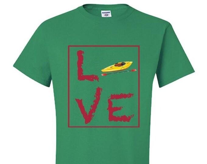 Kayak T-Shirt, Kayaking TShirt, LOVE Kayaking Shirt, Kelly Green, Gift for Kayaker, Yak T Shirt,