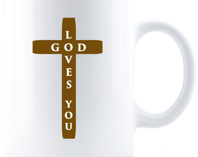 White, Coffee Mug, Ceramic Mug, Tea, Gift for Him, Gift for Her, Gifts, God Loves You, Love,
