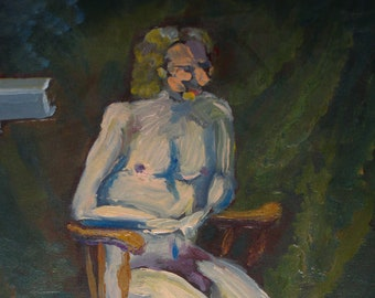 """Outsider Art Topless Man Sitting in Wooden Chair Weird Painting 11""""x14"""" Canvas Amateur Acrylic Painting Odd Bad Art"""