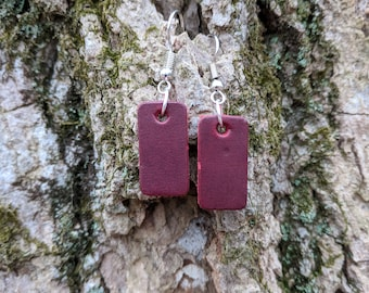 Handmade Leather Rectangle Earrings - Cherry Red Rectangle