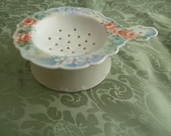 Vintage Porcelain Tea Strainer with pedestal catch basin.  Hand-painted