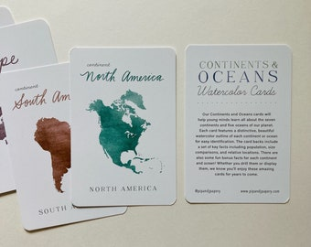 Continents and Oceans Watercolor Cards - Continent Flash Cards - Ocean Fact Cards - Homeschool Flash Cards - Homeschool Material-Flash Cards