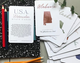 USA Watercolor State Cards - USA Flash Cards - USA Fact Cards - Homeschool Flash Cards - Homeschool Material - United States Flash Cards