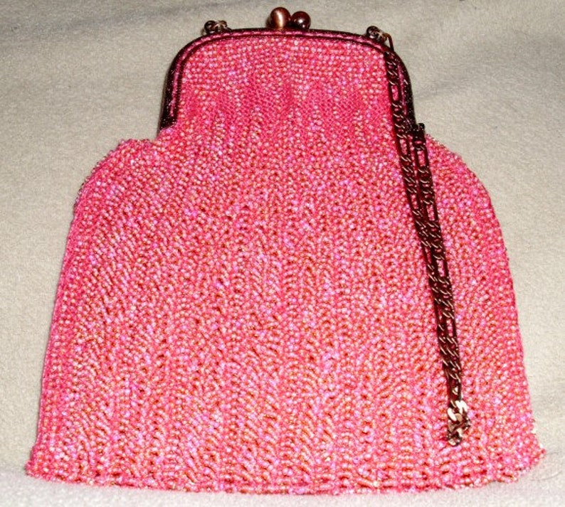 Pink on Red Beaded Hand Bag