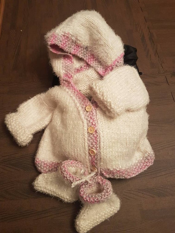 db05692a8dfc Handmade knit baby cardigan with hood and booties. So so soft