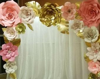 Paper flower wall etsy 15 large paper flower wall decor flore de papel wedding paper flower backdrop unicorn paper flower backdrop baby shower conjunto mightylinksfo