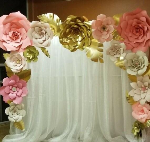 Lot 15 Large Paper Flower Backdrop Wedding Wall Decor Flore Etsy