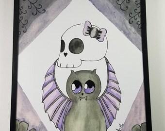 Bat and Skull print