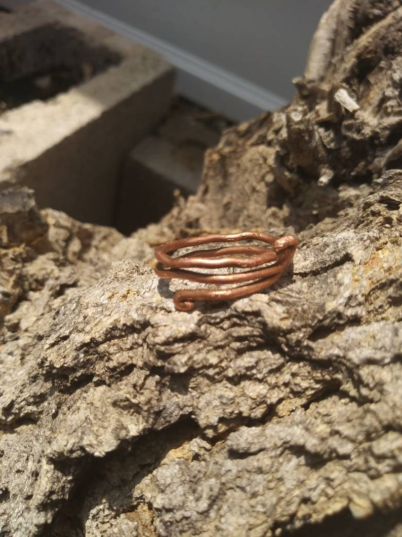Copper coil elven style adjustable ring