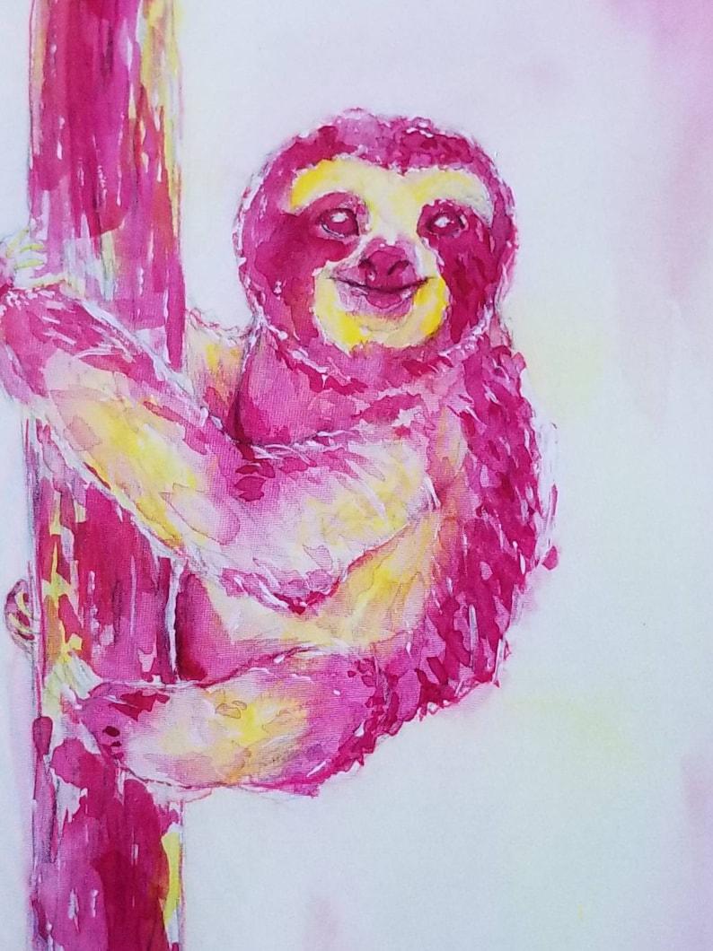 Smiling Pink Sloth Art Print