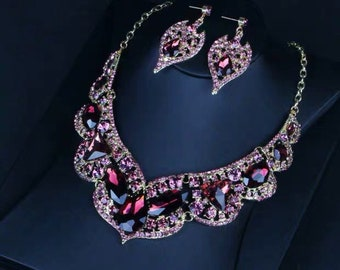914572c1874887 Red necklace set,large crystal necklace and earrings,pageant necklace set,statement  necklace,jewelry set,crystal rhinestone,Bridesmaid