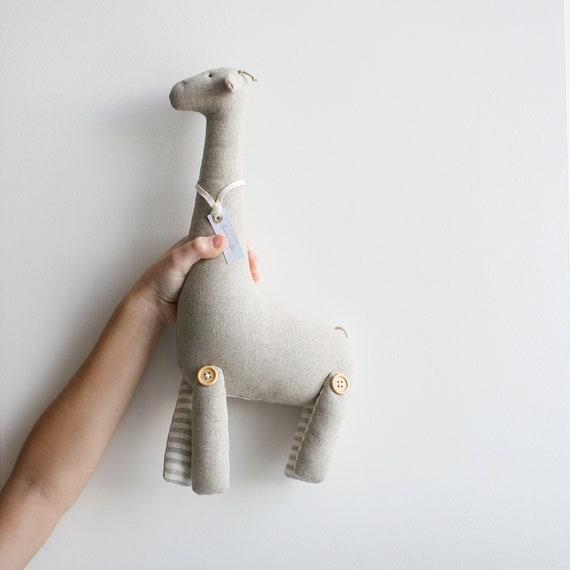 Giraffe Stuffed Toy Giraffe Soft Toy Giraffe Linen Toy Etsy