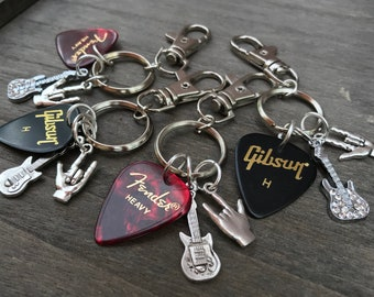 Guitar Keyring Musician Keychain Music Gift Bag Charm Band Lovers For