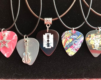 Guitar pick plectrum  necklace on leather cord.