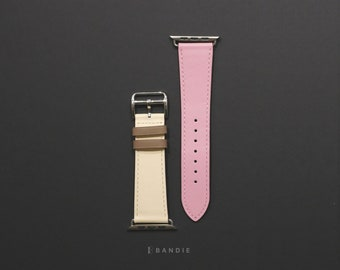 8d26051890 Apple Watch Leather Band Strap Hermes, Rose Sakura Pink Tan Beige Single  Tour, Apple Watch Band for Woman Man Hermes 38mm 42mm 40mm 44mm