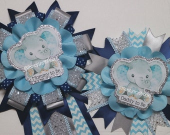Elephant baby shower corsage boyblue and gray baby shower corsagedad to be corsageelephant baby shower mumelephant baby shower pin
