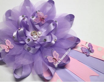 Butterfly Baby Shower Mommy to Be Corsage pin in Lavender and Pink