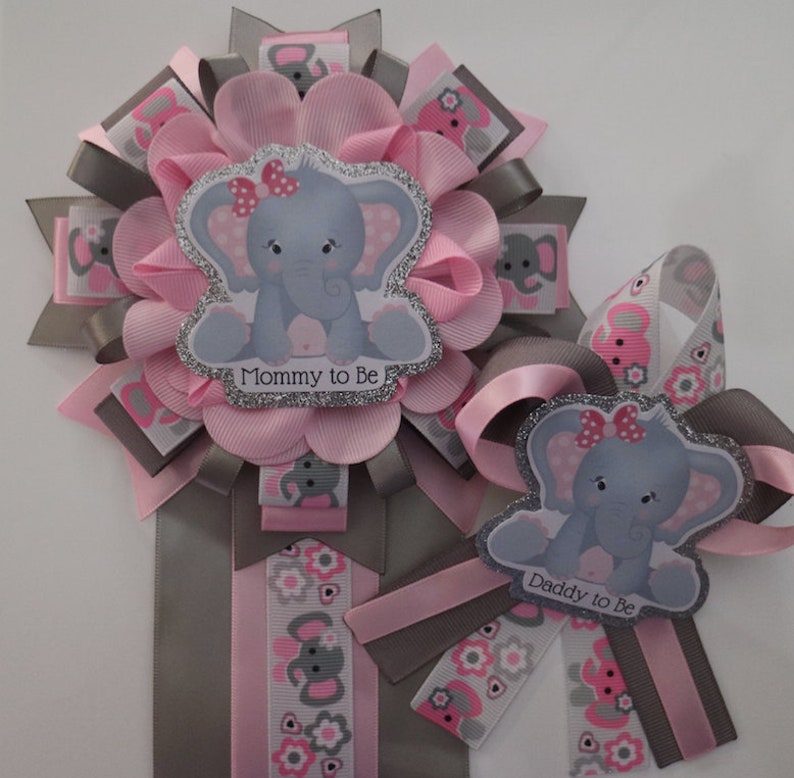 f75ce8100 Pink   Gray Baby Girl Elephant Baby Shower Corsage