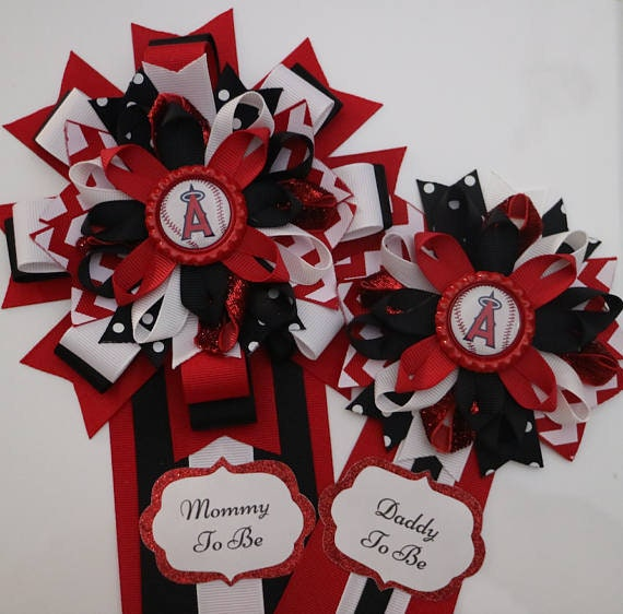 Angels Baseball Sports Themed Mommy And Daddy To Be Corsage Etsy