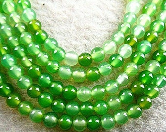 """15.5"""" Strand Beautiful Green & White Striped Agate Ball Beads 4mm - Approx. 90+ Polished Stone Beads for Jewelry, Crafts, + FREE BONUS GIFT!"""