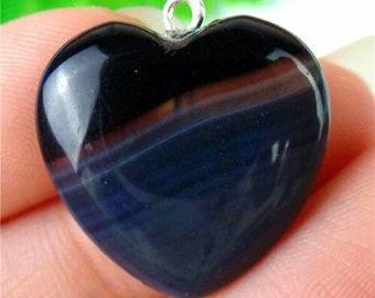 "Cool Black & Gray Striped Onyx Agate Stone Heart Pendant 20x20x6mm - Awesome New .79"" Polished Rock Ornament/ Bead/ Charm + FREE BONUS!"