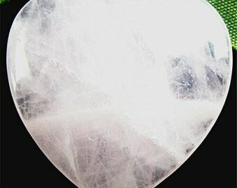 "Beautiful Natural Rose Quartz Stone Heart Pendant/ Charm 34x35x7mm - Cute New 1.38"" Heartshaped Polished Rock Pendant/ Amulet + FREE BONUS!"