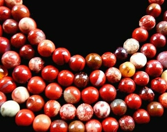 """15.5"""" Strand Fantastic Red Jasper Stone Ball Beads 4mm - Approx. 90+ Nice New Polished Stone Beads for Jewelry, Crafts, + FREE BONUS!"""