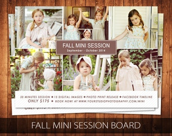 Fall Mini Session Photography Fall Mini Session Marketing Board, Fall Marketing Flyer, Photoshop Template - Buy 1 Get 1 Free
