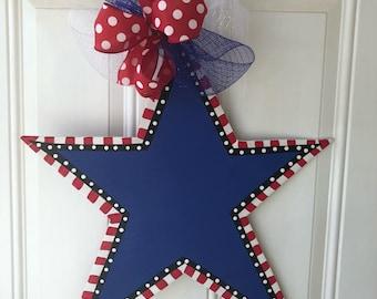 Patriotic star door hanger, Fourth of July door hanger, USA door hanger, ready to PERSONALIZE!