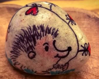 Pebble Art - Happy Hedgehog