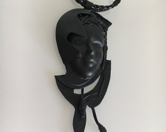 Vintage black leather necklace with woman face | Original leather accessory