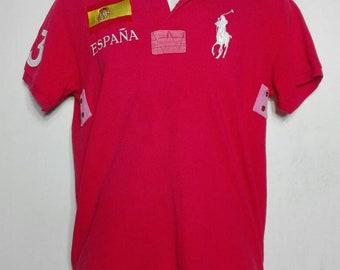 76e65a175 Polo by Ralph Lauren Spain Espana Flag Big Pony Rugby Polo Shirt 43 size S Custom  Fit