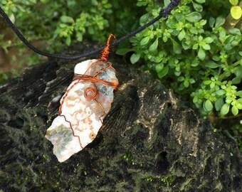 Jasper Copper Wire Wrap Necklace