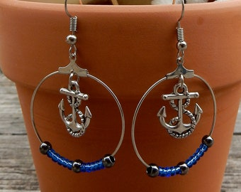 37 # anchor hoop earrings / / Sea / / Ocean