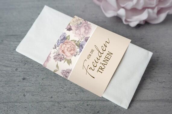 Taschentücher Für die Freudentränen 40 Stk ivory Banderole Hochzeit Taufe