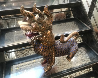 Rare Japanese carved wooden ornament dragons with glass detailing throughout