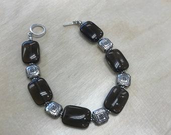 smokey quartz bracelet with toggle clasp