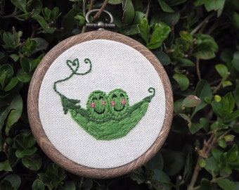 Peas In A Pod Embroidery Hoop