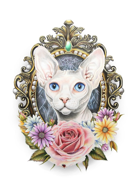 Sfinks Kot Druk Upominki Sfinks Tatuaż Sztuki Tatuaż Wzory Etsy