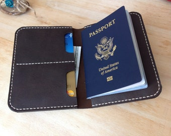 Personalized leather passport wallet, travel wallet, passport case, passport cover, passport holder