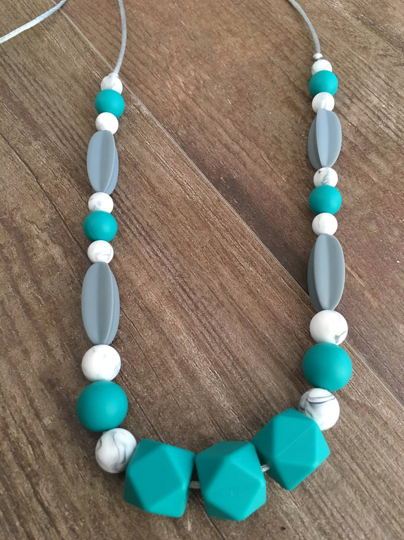 Silicone Teether Teething Nursing Necklace Mint Green Gray Baby Shower Gift