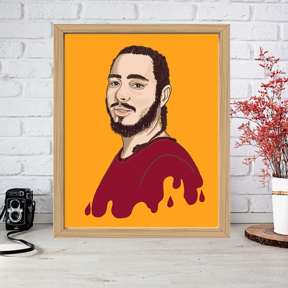 Post Malone Drawing: POST MALONE Print Drip Poster Drawing Art