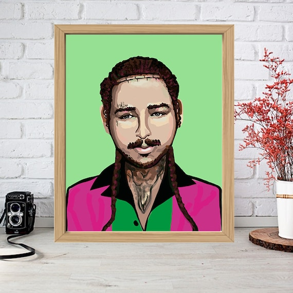 Post Malone Drawing: POST MALONE Print Watercolor Poster Drawing Art