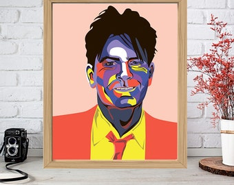 CHARLIE SHEEN Print - Colorful Poster Drawing Art