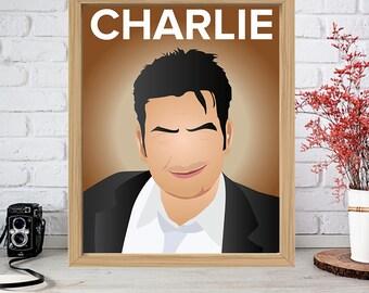 CHARLIE SHEEN Print - Minimalist Poster Drawing Art