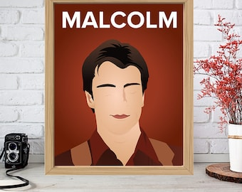 NATHAN FILLION Print - Minimalist Poster Drawing Art - Malcolm Reynolds